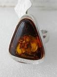(2) Серебряное кольцо 925 пробы с янтарем
