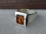 (4) Безразмерное серебряное кольцо 925 пробы с янтарем