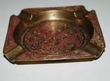 Пепельница для 4-х персон, бронза, гравировка - 11х11х1,5 см./150 грамм, фото №4