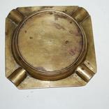 Пепельница для 4-х персон, бронза, гравировка - 11х11х1,5 см./150 грамм, фото №8