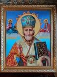 Икона писаная маслом, Святой Николай Чудотворец, фото №2
