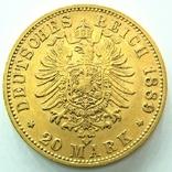 Пруссия 20 марок 1889 г. Старый герб, фото №3
