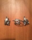 """Серебряные серьги и кольцо с камнями . (925 проба). Клеймо """" Голова""""., фото №5"""
