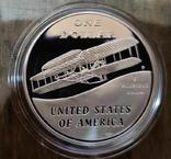 США 1 доллар 2003 г. Уилбераи Орвилла Райт. Самолёт.  Серебро. Пруф, фото №2