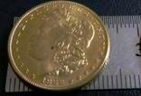 5 доларів ЗОЛОТОМ  1888  рокуСША  /позолота 9999/ копія золотої, фото №4