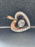 Серебряная подвеска в виде сердца, фото №2