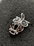 Серебряная подвеска в виде совы, фото №3