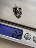 Серебряная подвеска в виде совы, фото №5
