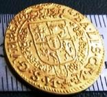 1 дукат  золотом1649  року , Польща ,  копія золотої не магнітний, позолота 999, фото №2