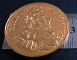 2 дуката  золотом1697  року , Польща ,  копія золотої не магнітний,   позолота 999, фото №2