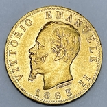 20 лир. 1863. Витторио Эмануэле II. Италия (золото 900, вес 6,43 г), фото №3