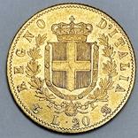 20 лир. 1863. Витторио Эмануэле II. Италия (золото 900, вес 6,43 г), фото №4