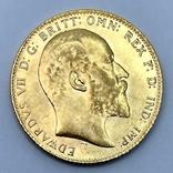 1 фунт (соверен). 1906. Эдуард VII. Великобритания (золото 917, вес 8,00 г), фото №3