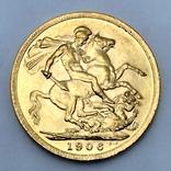 1 фунт (соверен). 1906. Эдуард VII. Великобритания (золото 917, вес 8,00 г), фото №4