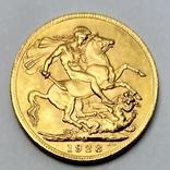 1 фунт (соверен). 1928. Георг V. Великобритания (проба 917, вес 8,00 г), фото №4