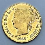 4 песо. 1868. Изабелла II. Филиппины. (золото 875, вес 6,77 г), фото №2