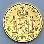 4 песо. 1868. Изабелла II. Филиппины. (золото 875, вес 6,77 г), фото №3