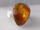 (5) Безразмерное серебряное кольцо 925 пробы с янтарем
