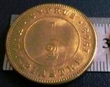 1/2 піастра золотом  1908 року - Британські Кіпрські острови /позолота 999/  копія, фото №2