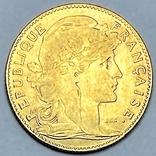 """10 франков. 1900. """"Петух"""" Франция (золото 900, вес 3,23 г), фото №3"""