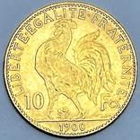 """10 франков. 1900. """"Петух"""" Франция (золото 900, вес 3,23 г), фото №4"""