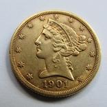 5 долларов 1901 г. США, фото №2
