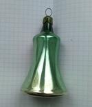 Елочная игрушка Колокольчик зеленый СССР 1959 г., фото №4