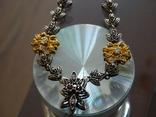 Старенький гарнитур колье, браслет, серьги. Серебро, позолота, камни., фото №4