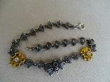 Старенький гарнитур колье, браслет, серьги. Серебро, позолота, камни., фото №5
