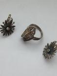 Серьги и Кольцо перстень Серебро -925 проба Вес -12 грамм, фото №2