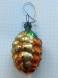 Елочная игрушка Шишка кедровая СССР 1960 г. толстое стекло, фото №5