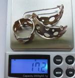 Крупные серьги и кольцо серебро 925 17,2 грм, фото №10
