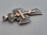 Серебряный крест с золотой накладкой., фото №7