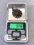 Старынный серебряный кулон с янтарем, надпись Norma Magrethe ( серебро 830 пр, вес 6,4 гр), фото №3