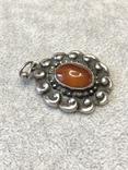 Старынный серебряный кулон с янтарем, надпись Norma Magrethe ( серебро 830 пр, вес 6,4 гр), фото №4