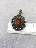 Старынный серебряный кулон с янтарем, надпись Norma Magrethe ( серебро 830 пр, вес 6,4 гр), фото №7