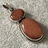 Серебряный кулон с авантюрином (серебро 925 пр, вес 14,1 гр), фото №2