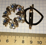 Дресс-клип, брошь, зажим для шарфа с булавкой (камушки синего цвета) / дрес кліп + бонус, фото №7