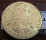 Монета Іспанії 1798 року- точна копія Золотої /позолота 999/ не магнітна, фото №2