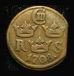 Швеция 1/6 эре 1708 Карл XII, фото №2