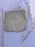 Кошелёк-кольчужка на 2 отделения и ножик, для шатлена, серебро, 67 гр., фото №2