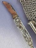 Кошелёк-кольчужка на 2 отделения и ножик, для шатлена, серебро, 67 гр., фото №4