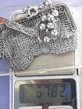 Кошелёк-кольчужка на 2 отделения и ножик, для шатлена, серебро, 67 гр., фото №13