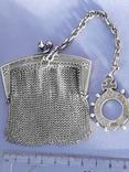 Кошелёк-кольчужка с религиозным медальоном к шатлену, серебро, 46 грамм, Франция, фото №2