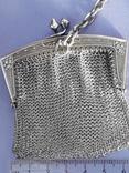 Кошелёк-кольчужка с религиозным медальоном к шатлену, серебро, 46 грамм, Франция, фото №6