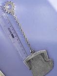 Кошелёк-кольчужка с религиозным медальоном к шатлену, серебро, 46 грамм, Франция, фото №7