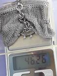 Кошелёк-кольчужка с религиозным медальоном к шатлену, серебро, 46 грамм, Франция, фото №13