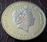 100 доларів Австралія  2015 року  магнітний,   (позолота 999)  копія, фото №2