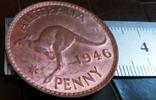 1 пенні 1946 року.  Австралія териорія Британії копія,дзвенить не магнітна- мідь, фото №2