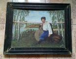 Картина старинная Кобзарь с бандурой худ.Мария К., фото №2